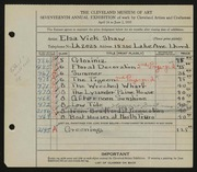 Entry card for Shaw, Elsa Vick for the 1935 May Show.