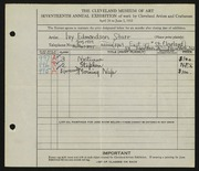 Entry card for Edmondson, Ivy Jane for the 1935 May Show.