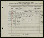 Entry card for Suto, Joseph for the 1935 May Show.