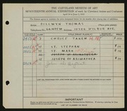 Entry card for Thomas, Dillwyn for the 1935 May Show.
