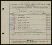 Entry card for Travis, Paul Bough for the 1935 May Show.