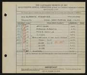 Entry card for Wagner, Elberta M. for the 1935 May Show.