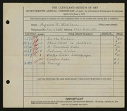 Entry card for Wallace, Agnes E. for the 1935 May Show.