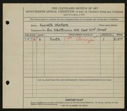 Entry card for Walters, Kenneth for the 1935 May Show.