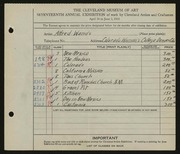 Entry card for Wands, Alfred J. for the 1935 May Show.