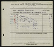 Entry card for West, Brennan B., Jr. for the 1935 May Show.