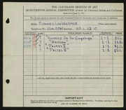 Entry card for Whitmer, Howard Lee for the 1935 May Show.