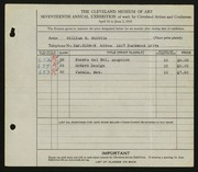 Entry card for Whittle, William S. for the 1935 May Show.