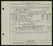 Entry card for David, Adeline Wilkens for the 1935 May Show.