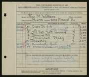 Entry card for Wilkens, Lillian M. for the 1935 May Show.