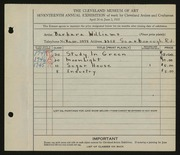 Entry card for Williams, Barbara for the 1935 May Show.