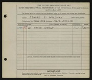 Entry card for Woldman, Edward E. for the 1935 May Show.