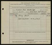 Entry card for Woodbridge, Elizabeth Stair for the 1935 May Show.
