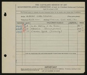 Entry card for Young, Albert Carl for the 1935 May Show.