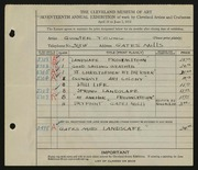 Entry card for Young, Jay Quinter for the 1935 May Show.