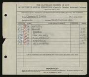 Entry card for Zuelch, Clarence E. for the 1935 May Show.