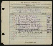 Entry card for Ackley, Edward James for the 1936 May Show.