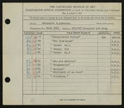 Entry card for Aukerman, Nathaniel B. for the 1936 May Show.