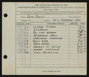 Entry card for Balch, Rose for the 1936 May Show.
