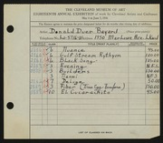 Entry card for Bayard, Donald Duer for the 1936 May Show.