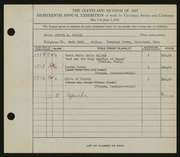 Entry card for Becvar, Arthur N. for the 1936 May Show.