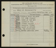 Entry card for Berkowitz, Benjamin B. for the 1936 May Show.