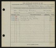 Entry card for Blazy, Sterling for the 1936 May Show.