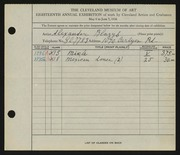 Entry card for Blazys, Alexander for the 1936 May Show.