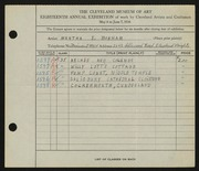 Entry card for Bonham, Martha E. for the 1936 May Show.