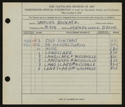 Entry card for Bookatz, Samuel for the 1936 May Show.