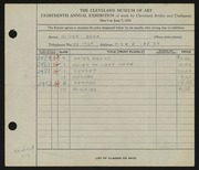 Entry card for Boza, Oliver for the 1936 May Show.