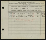 Entry card for Brayton, John C. for the 1936 May Show.