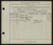 Entry card for Broemel, Carl William for the 1936 May Show.