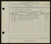Entry card for Brooks, Mary Semour for the 1936 May Show.
