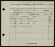 Entry card for Campbell, Marion Macdonald  for the 1936 May Show.