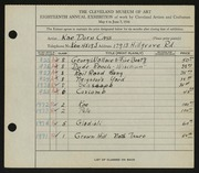 Entry card for Cass, Katherine Dorn for the 1936 May Show.