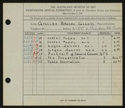 Entry card for Cass, Caroline Pickands for the 1936 May Show.