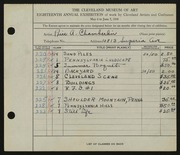Entry card for Chamberlin, Price Albert for the 1936 May Show.