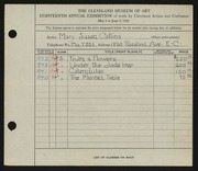 Entry card for Collins, Mary Susan for the 1936 May Show.