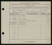 Entry card for Conrad, William H. for the 1936 May Show.