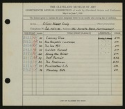 Entry card for Craig, Oliver Newell for the 1936 May Show.