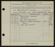 Entry card for Culler, George D. for the 1936 May Show.