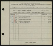 Entry card for Curtis, Floyd Edward for the 1936 May Show.