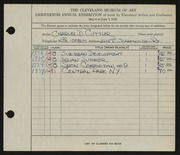 Entry card for Cuttler, Charles D. for the 1936 May Show.