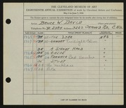 Entry card for David, Bruce W. for the 1936 May Show.