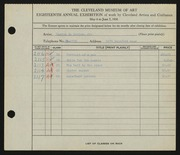 Entry card for Davies, Maxton R., Jr. for the 1936 May Show.