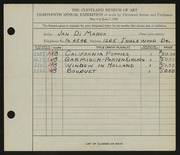 Entry card for Di Marco, Jan for the 1936 May Show.