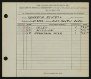 Entry card for Elwell, Kenneth for the 1936 May Show.