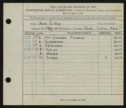 Entry card for Estep, Jane for the 1936 May Show.