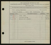 Entry card for Eterovich, Anthony William for the 1936 May Show.